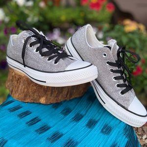 EC! 🌟 Silver Metallic Converse Sneakers Sz 7.5